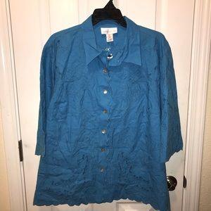 Susan Graver Style linen cutout scallop jacket 3X